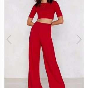 Nasty Gal Red Pants and Cropped Top Set